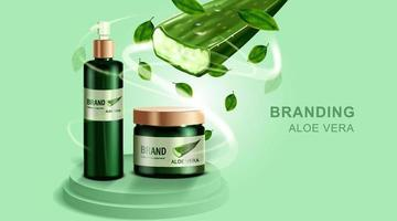 cosmetici o prodotti per la cura della pelle. mockup di bottiglia e aloe vera con sfondo verde. illustrazione vettoriale. vettore