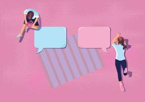 la giovane coppia usa un concetto di San Valentino di carta adesiva, notifica, piano d'amore, una lista di controllo per fare questo tono rosa romantico e carino sembra buono per dire amore illustrazione vettoriale design piatto