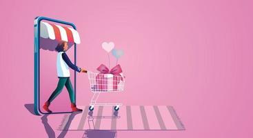 la ragazza prende un carrello della spesa e si gode lo shopping online tramite smartphone, sceglie di acquistare regali sito Web di concetti di San Valentino o applicazione per cellulare, illustrazione vettoriale di design piatto
