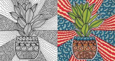 scarabocchiare pianta vaso mandala pagina di libro da colorare per adulti e bambini. decorativo rotondo bianco e nero. modelli di terapia antistress orientale. groviglio zen astratto. illustrazione vettoriale di meditazione yoga.