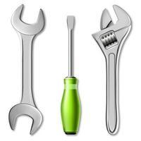 set realistico di strumenti del maestro meccanico o idraulico. 3d illustrazione vettoriale di una chiave inglese, chiave regolabile e cacciavite
