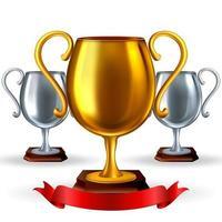 set di coppe trofeo realistiche. Illustrazione vettoriale 3D di premi d'oro e d'argento