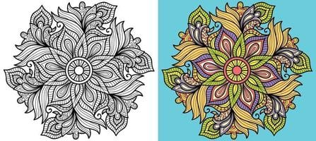 Doodle mandala pagina del libro da colorare per adulti e bambini. modelli di terapia antistress orientale. groviglio zen astratto. illustrazione vettoriale. vettore