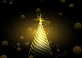 Sfondo dorato dell'albero di Natale vettore