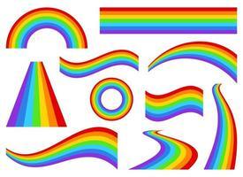 arcobaleno set disegno vettoriale illustrazione isolato su sfondo bianco
