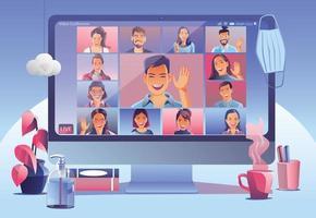 atterraggio in videoconferenza. persone sullo schermo del computer tenendo con i colleghi. videoconferenza e riunione in linea della pagina di vettore dell'area di lavoro uomo e donna. auto-quarantena per evitare il vettore covid -19