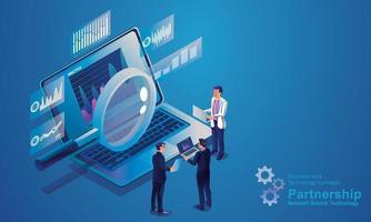 tecnologia di ricerca sulla rete Internet, gli uomini d'affari usano la lente d'ingrandimento per cercare sui laptop, analisi dei dati per soluzioni di marketing o prestazioni finanziarie. concetto di statistiche design isometrico vettore