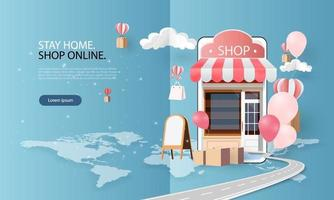 paper art shopping online su smartphone e nuovo sfondo rosa di promozione della vendita di acquisto per l'e-commerce del mercato banner. vettore