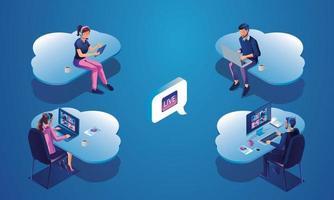 uomini d'affari che lavorano e riunioni ottimizzazione e sviluppo del flusso di lavoro dei processi aziendali comunicazione con la rete dati dei dispositivi online in un database su servizi cloud vettore concetto isometrico