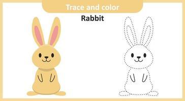 traccia e colora il coniglio vettore