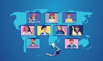 gli uomini d'affari usano l'atterraggio della videoconferenza lavorando con le persone vista dall'alto sullo schermo della finestra con i colleghi. videoconferenza di lavoro a distanza e pagina di lavoro per riunioni online uomo donna vettore di apprendimento