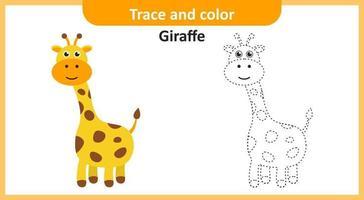 traccia e colora la giraffa vettore