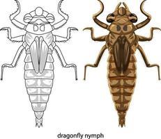 libellula a colori e scarabocchio su sfondo bianco vettore
