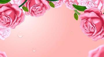 rose sullo sfondo rosa vettore