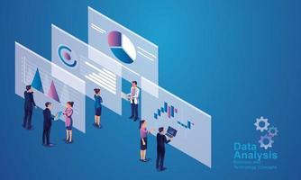 concetto di analisi dei dati per sito Web e sito Web mobile. analisi dei dati per soluzioni di marketing aziendale o prestazioni finanziarie. concetto di contabilità o statistiche di bilancio. illustrazione design piatto vettore