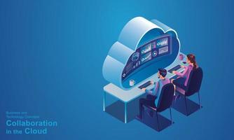 uomini d'affari seduti nella tecnologia cloud, ottimizzazione della creatività e dell'innovazione e sviluppo del flusso di lavoro dei processi aziendali, con il disegno vettoriale di concetto isometrico di dati dei dispositivi online