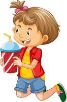 personaggio dei cartoni animati di ragazza felice che tiene un bicchiere di plastica della bevanda vettore