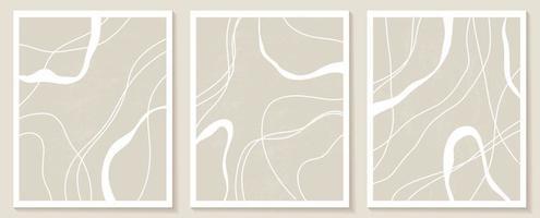 set di modelli eleganti con forme astratte organiche e linea in colori nudi. sfondo pastello in stile minimalista. illustrazione vettoriale contemporanea