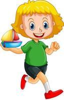 personaggio dei cartoni animati di ragazza felice che tiene una nave giocattolo vettore