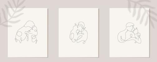 impostare amanti lineari. silhouette lineare continua di persone. contorno disegnato a mano di avatar. logo lineare in stile minimal per salone di bellezza, truccatore, stilista vettore