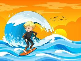 grande onda nella scena dell'oceano con il ragazzo in piedi su una tavola da surf vettore