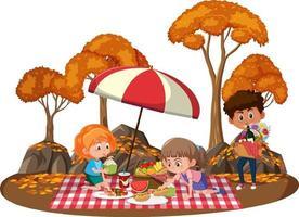 bambini che fanno picnic nel parco con molti alberi autunnali vettore