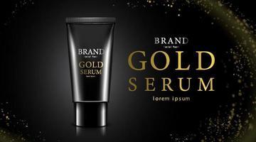 confezione di bottiglia cosmetica di lusso crema per la cura della pelle, poster di prodotti cosmetici di bellezza, pacchetto nero di lusso e sfondo scintillante di colore nero e oro vettore