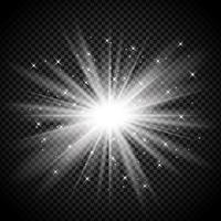 Starburst argento su sfondo trasparente vettore