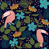 Seamless pattern tropicale di tucani, fiori, palme e foglie su sfondo nero. vettore