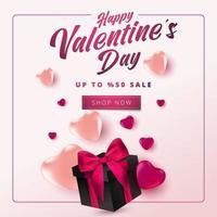 poster o banner di vendita di San Valentino con molti cuori dolci e su sfondo sfumato rosa. modello di promozione e shopping o per amore e San Valentino. vettore
