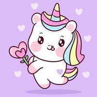 vettore di unicorno carino tenendo il fiore del cuore. pony cartoon kawaii sfondo animale per il regalo di San Valentino