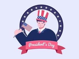 illustrazione piatta felice giorno del presidente in usa o in america vettore