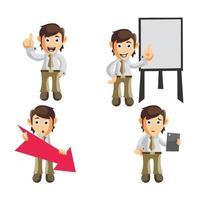 set di personaggi dei cartoni animati di uomo d'affari vettore