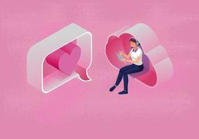 una donna utilizza un concetto di San Valentino con messaggio diretto per tablet, con cloud computing, sito Web o applicazione per cellulare, lo smartphone per la promozione del messaggio, romantico e carino, tono rosa, disegno vettoriale