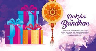 biglietto di auguri con rakhi decorativo per raksha bandhan e scatole regalo, festival indiano per la celebrazione del legame tra fratello e sorella, la relazione vincolante vettore