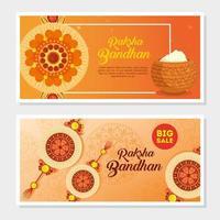 set di biglietti di auguri per la celebrazione del raksha bandhan vettore