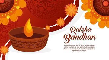 modello di biglietto di auguri per raksha bandhan vettore