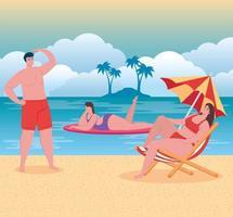 persone in spiaggia, vacanze estive e concetto di turismo vettore