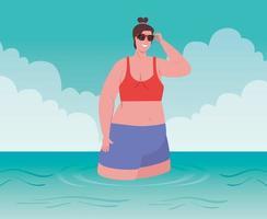 donna in spiaggia, vacanze estive e concetto di turismo vettore