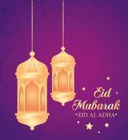 celebrazione di eid al adha mubarak con lanterne appese vettore