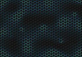 modello esagono nero astratto di struttura futuristica con il concetto di tecnologia dei raggi di luce blu. vettore
