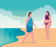 donna carina in costume da bagno in spiaggia, stagione delle vacanze estive vettore