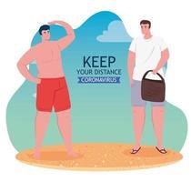 uomini che si allontanano sociale al banner spiaggia vettore