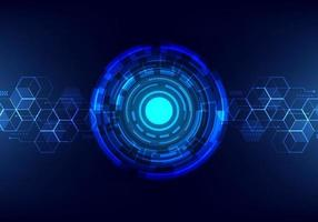 tecnologia astratta futuristica rete di dati digitali di trasferimento al concetto centrale. sfondo di tecnologia internet cerchio blu.
