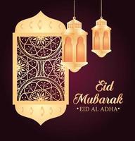 celebrazione di eid al adha mubarak con lanterna appesa e finestra araba vettore