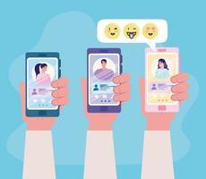 applicazione di servizio di dating online con le mani che tengono smartphone vettore