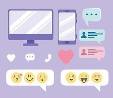 collezione di icone del servizio di incontri online vettore