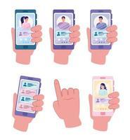 collezione di icone del servizio di incontri online con mani che tengono i telefoni vettore