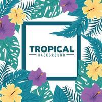 sfondo di fogliame tropicale con foglie verdi e fiori vettore