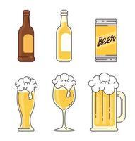 raccolta di icone di birra vettore